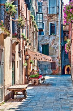 Quiet Street in Venice, Italy