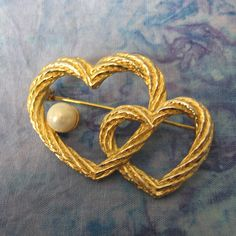 Beautiful Double Heart Pin with Faux Pearl by ZiataGifts on Etsy, $10.00