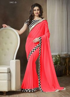 3e6ed9fba1 Buy pink plain georgette saree with blouse designer-embroidered-saree online