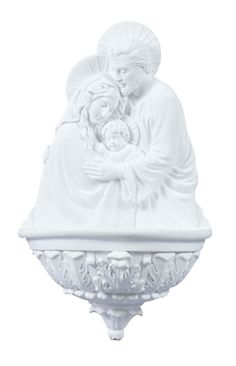 """Holy Family Holy Water Font in White. Holy family water font in white used for holding Holy water. Perfect for church, chapel or home use. Measures at 9"""" tall. Veronese Collection"""