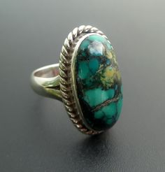 Silver Turquoise Ring - Handmade Sterling Silver and Turquoise Statement Ring - Size 8.5