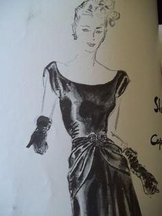 Scoop neckline Dress with above wrist Gloves