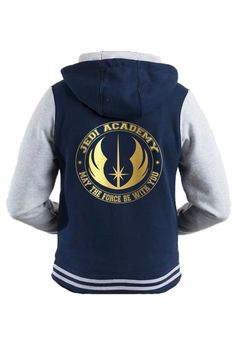 Jedi Academy varsity hooded blue jacket with gold motif by iganiDesign on Etsy