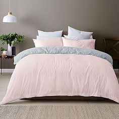 Spruce up your bedspread with this Linen Cotton Quilt Cover Set! Set consists of quilt cover and two matching pillowcases. Blush Bedroom, Dream Bedroom, Home Bedroom, Bedroom Decor, Bedrooms, Blush Pink And Grey Bedroom, Bedroom Ideas, Pink Bedspread, Light Pink Comforter
