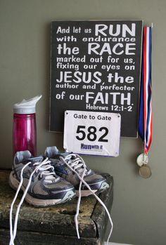 "Race Bib and Medal Holder 12"" x 15""  Hebrews 12:1-2  Race Bib Display  Buy 3 get 1 Free!"