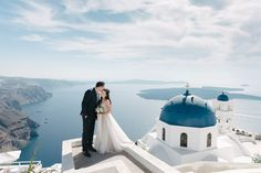 Watters Penelope dress. Santorini wedding