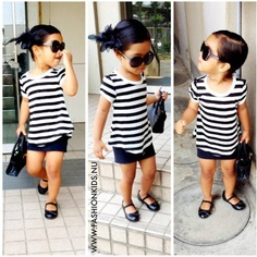 Black mini with a stripe shirt and flats