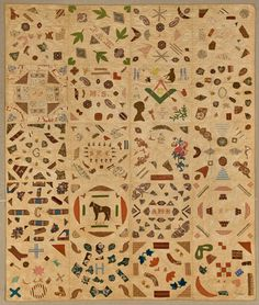 Pictorial Quilt circa 1840, Cotton, cotton thread, 67 ¾ x 85 ½ in. (172.1 x 217.2 cm), Brooklyn Museum - Workt by Hand: Hidden Labor and Historical Quilts exhibit