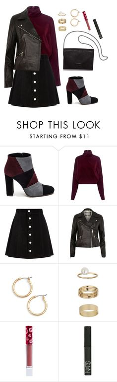 """""""Wine Suede"""" by yasminferrare ❤ liked on Polyvore featuring Roberto Festa, McQ by Alexander McQueen, AG Adriano Goldschmied, River Island, Nordstrom, Loeffler Randall, Miss Selfridge, Lime Crime and NARS Cosmetics"""