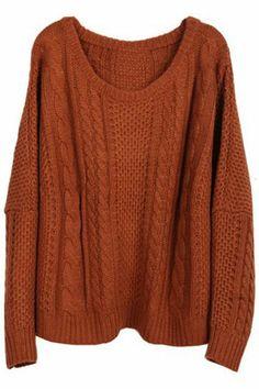 Farb-und Stilberatung mit www.farben-reich.com - Twisted Knitted Coffee Jumper