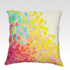 CREATION IN COLOR, Fine Art Velveteen Throw Pillow Cover 18x18 Abstract Ocean Waves Splash Beach, Red Yellow Green Turquoise Dorm Home Decor