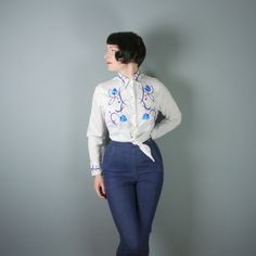 WESTERN shirt by ROPER  white with blue FLOWER by SartorialMatters