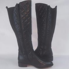 """NIB NWT GC Shoes Quilted """"Raina"""" Black Riding Boot HOT HOT HOT QUILTED BLACK RIDING BOOT SOLD OUT AT DSW!!! Quilted faux leather upper 17""""-16"""" front to back shaft height, inside zipper 14"""" calf circumference  *Back elastic panels for wider fit* Round toe Plaid fabric lining 1?"""" block heel GC Shoes  Shoes Combat & Moto Boots"""