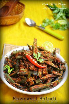 BESANWALI BHINDI / BESAN BHINDI MASALA - LADYS FINGER RECIPES | Cook With Smile