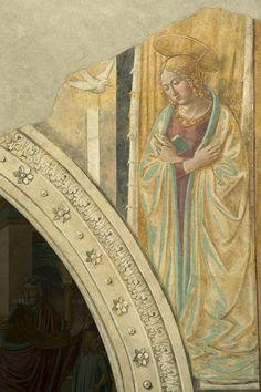 Benozzo Gozzoli - L'Annunciazione dell'arcangelo Gabriele alla Vergine dal ciclo Tabernacolo della Visitazione - 1491-92 - affreschi staccati - BEGO-Museo Benozzo Gozzoli - Castelfiorentino