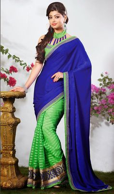 Green and Royal Blue Velvet Half N Half Saree We unfurl our the intricacy and exclusivity of our creations highlighted in this green and royal blue velvet half n half saree. The ethnic resham and unique border work in the apparel adds a sign of beauty statement with a look. Comes with a matching stitched round neck blouse with 6 inches sleeves. #SuperbHalfSaree2015 #LatestSareeFashionToday