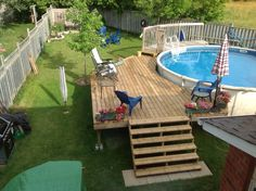 Our deck around our above ground pool.