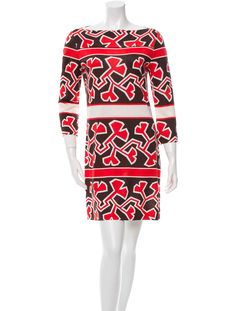 Brown and red Diane von Furstenberg silk shift dress with bateau neckline and three-quarter sleeves.