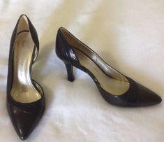 4cbf8998a4 Anne Klein iflex Fondly Pumps Sz 8 M D'Orsay Heels Black Leather Pump Shoes
