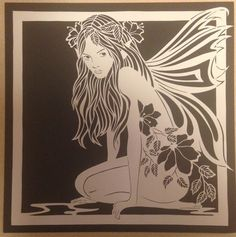 Items similar to Original paper cut-Fairy on Etsy Fairy Silhouette, Silhouette Curio, Stencil Art, Stencil Designs, Stencils, Shadow Light Box, Paper Art, Paper Crafts, Scratch Art