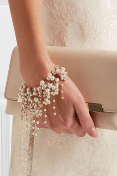 Rosantica - Bravi gold-tone pearl bracelet - Lobster clasp fastening Comes in a tie-fastening pouch Freshwater pearls: China Made in Italy - Pearl Bracelet, Pearl Jewelry, Wire Jewelry, Jewelry Crafts, Bridal Jewelry, Beaded Jewelry, Jewelery, Handmade Jewelry, Beaded Bracelets