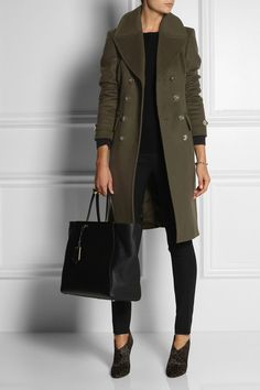 BURBERRY LONDON Double-breasted wool-blend coat $1,595Gold buttons and a double-breasted front give Burberry London's wool and cashmere coat a military feel. Balance the boyish cut of this army-green design with skinny pants and heels. Shown here with: Equipment top, Valentino bracelet, Marc by Marc Jacobs ring, Miu Miu pants, Jimmy Choo boots, Fendi bag.