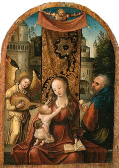 COECKE VAN AELST Pieter (1502-1550) circle of - Virgin and Child, Saint Joseph and musical Angel.jpg
