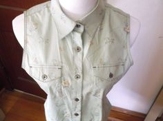 Bit & Bridle Sleeveless Blouse Shirt Sage Green Button Down Collar Horse Western #BitBridle #Western #Casual