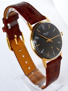 Men`s watch vintage gold-plated RAKETA 1960s Collectibles Soviet Luxury watch #Raketa #LuxuryDressStyles #Raketa #Fathersday #Luxury #Gold #watch #gifthim #Casual #Hipster #collectibles #black #Christmasgift