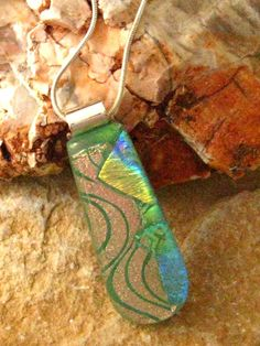 Dichroic Glass Necklace Fused Glass Pendant Green by GlassCat, $24.00