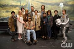 """Supernatural -- """"Fan Fiction"""" -- Pictured (back row center L-R): Jensen Ackles as Dean and Jared Padalecki as Sam surrounded by cast of Supernatural: The Musical!"""""""