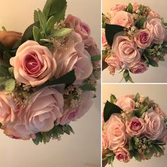 An artificial wedding bouquet featuring pink flowers Artificial Wedding Bouquets, Ivory Roses, Pink Flowers, Lilac, Berries, Floral Wreath, Wreaths, Pearls, Bridal