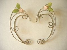 Elf Ear Cuffs, Wraps, with pink glass flowers and by jhammerberg