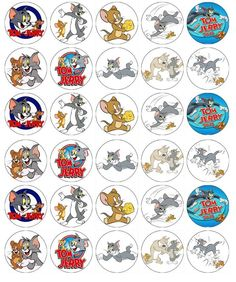 24 x Tom Jerry Cup Cake Toppers Precut Available Jerry