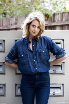Denim high rise jeans, denim shirt / Garance Doré