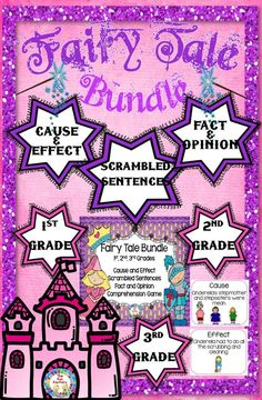 Fairy Tale Activities Provide Fun Ways For Your Kids To Practice Fact And Opinion, Cause And Effect, Comprehension And More The List Of Fantasy Fairytale Characters Perfect For Your Classroom To Be Your Castle Of Lessons, Teaching Many Common Core Obje Fairy Tale Activities, Fun Activities, Reading Activities, Reading Comprehension Games, Creative Teaching, Teaching Ideas, Teaching Writing, The Fun Factory, Fact And Opinion