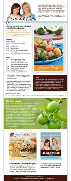 Janet and Greta ~ Shrimp mango Avocado Salad Mango Avocado Salad, Shrimp Avocado Salad, Great Recipes, Favorite Recipes, Better Health, Seafood Dishes, Salad Dressing, Spoons, Salad