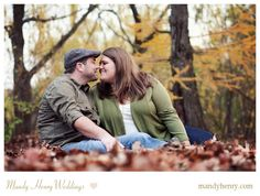 Fall Engagement Photo Shoot- Couple in fall leaves