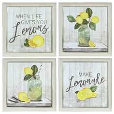 When life gives you lemons, make lemonade! Our set of whimsical Lemon Framed Art Prints combine rustic, farmhouse elegance with a valuable life lesson. Lemon Kitchen Decor, Yellow Kitchen Decor, Kitchen Themes, Farmhouse Kitchen Decor, Kitchen Decorating Themes, Spring Kitchen Decor, Country Farmhouse, Modern Farmhouse, Kitchen Ideas