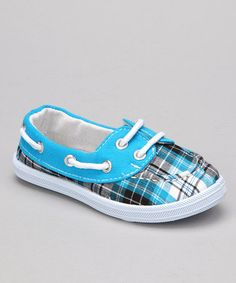 Take a look at this Blue Plaid Boaty Boat Shoe by Blue Suede Shoes on #zulily today!