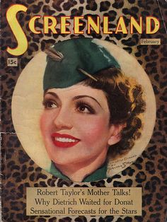 Claudette Colbert on vintage Screenland magazine cover