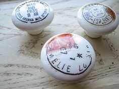 White Ceramic Knobs Postage Stamp  Traveler by SquidooInk on Etsy, $20.00