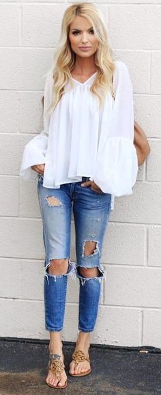 #summer #outfits  White Blouse + Destroyed Jeans + Brown Sandals