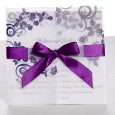 Leben ist ein Gedicht Violett Edle Hochzeitskarten mit Band p OPA051 Ideen für 2014 Winter Hochzeit in der Farbe Grau, Silber, Plum, Rosa, Blau
