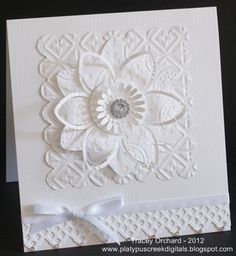 White on white flower card by platypus67 - Cards and Paper Crafts at Splitcoaststampers