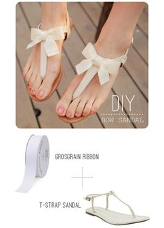 craftingitup:    DIY Bow Sandal  What a great idea for summer! And a cute way to dress up and make the t-straps everyone's got into originals.  Tutorial athttp://www.swellmayde.com/2012/05/diy-bow-sandal.html