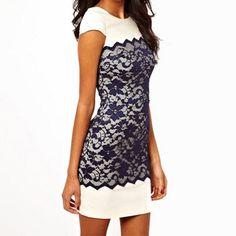 Dark blue lace white elegant sweet short sleeve slim women lady bodycon dress