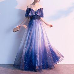 - Navy Fairy Falbala Galaxy Maxi Dress – SpreePicky Prom Girl Dresses, Pretty Prom Dresses, Ball Dresses, Elegant Dresses, Pretty Outfits, Homecoming Dresses, Cute Dresses, Beautiful Dresses, Quinceanera Dresses