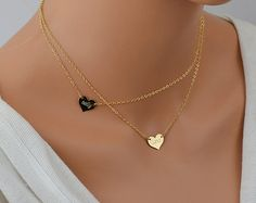 Name Heart Necklace, Personalized Gold Necklace, Layered Necklace Set, Delicate Gold Necklace, Gold or Rose Heart Necklace by malizbijoux. Explore more products on http://malizbijoux.etsy.com
