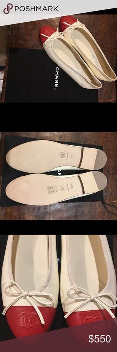Chanel NEW red tip shoes. Chanel NEW red tip shoes. Comes with Bag!! CHANEL Shoes Flats & Loafers